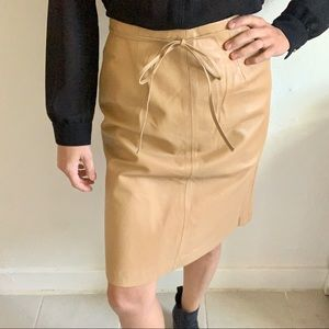 Vintage Leather Camel Colored midi skirt
